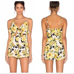 J.O.A. Floral Cut Out Romper in Yellow Multi